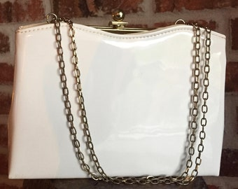 White Patent Leather Evening Bag