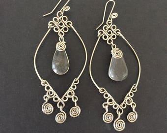 Hippie Earrings, Silver Hippie Earrings, Dangling Earrings