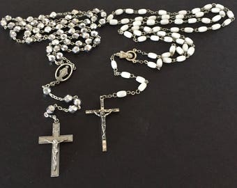Rosary Beads, Prayer Beads, White Rosary Beads, Silver Rosary Beads, Catholic Rosary Beads