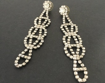 Chandelier Earrings, Long Rhinestone Earrings, Shoulder Duster Earrings