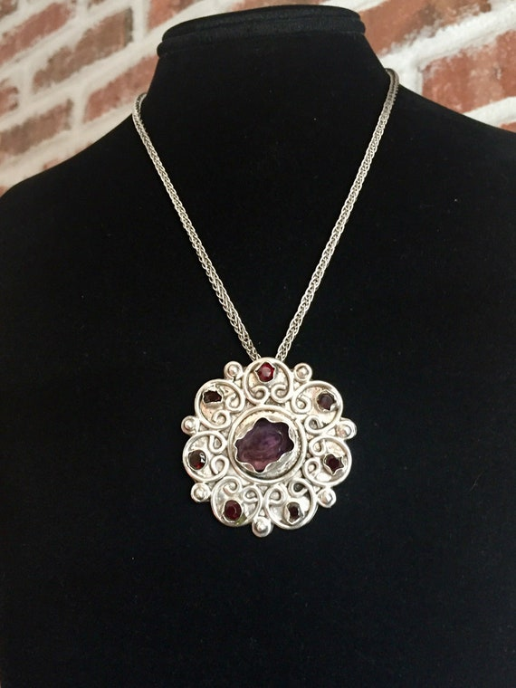 Amethyst Pendant, Vintage Amethyst and Sterling P… - image 7