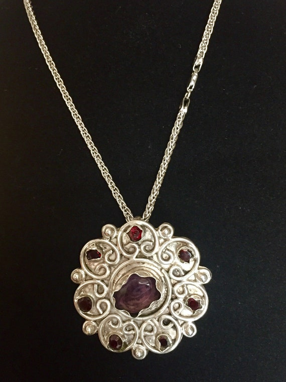 Amethyst Pendant, Vintage Amethyst and Sterling P… - image 4