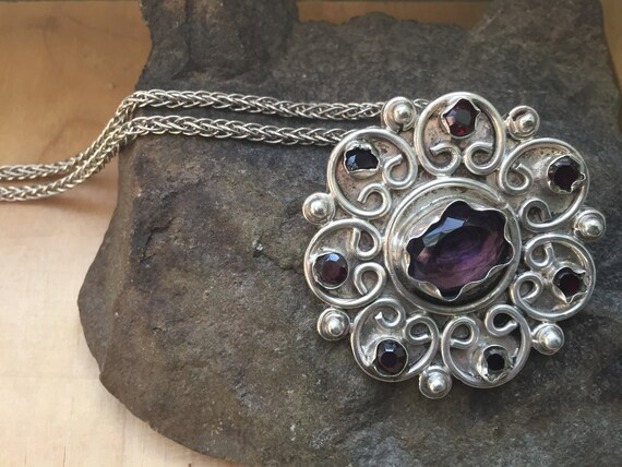 Amethyst Pendant, Vintage Amethyst and Sterling P… - image 9