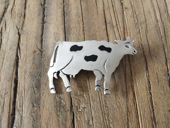 Animal Brooch, Cow Brooch, Sterling Cow Brooch, En
