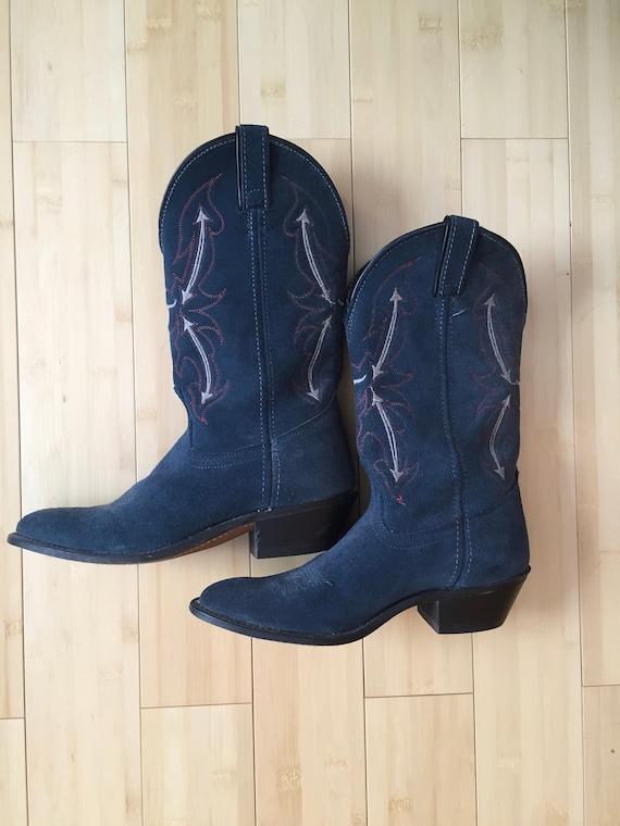 Cowboy Boots, Dusty Blue Suede Cowboy Boots, Weste