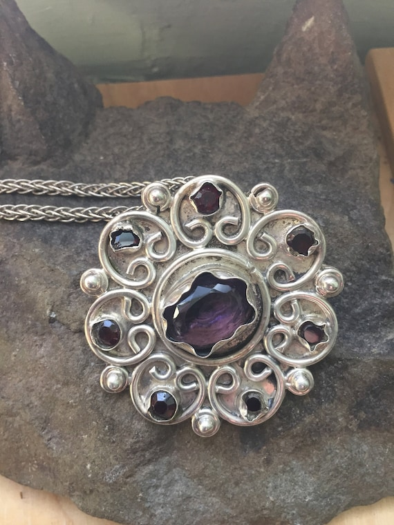 Amethyst Pendant, Vintage Amethyst and Sterling P… - image 1