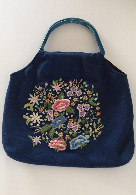 Tote Bag, Wool Tote Bag, Embroidered Tote Bag