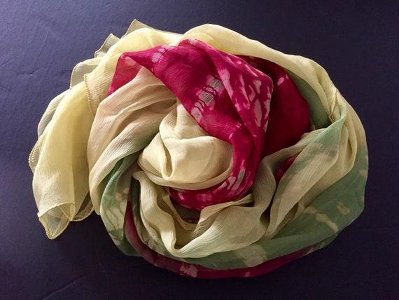 Silk Scarf, Tye Dye Silk ScarfColorful Silk Scarf,