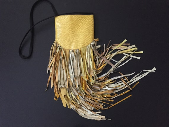 Fringe Bag, Shoulder Bag, Yellow Leather Fringe Ba
