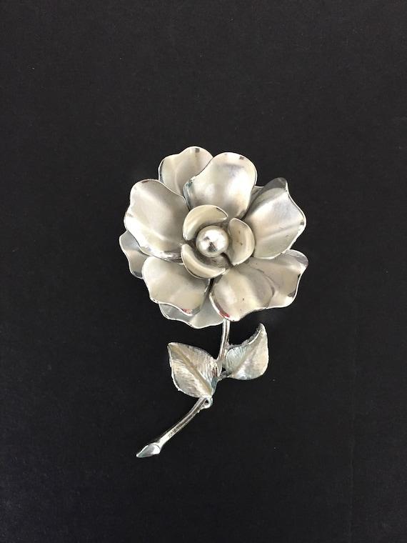 Rose Brooch, Silver Rose Brooch