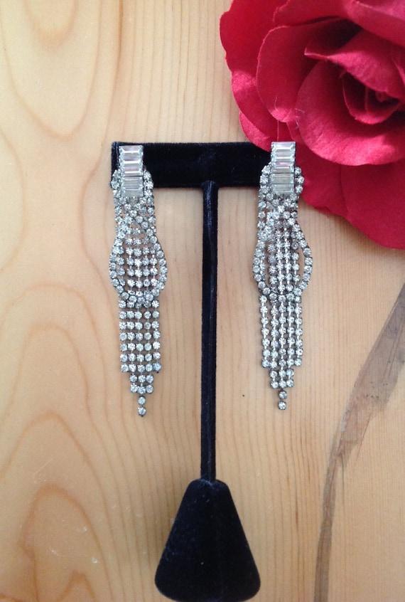 Rhinestone Dangling Earrings, Rhinestone Drop Ear… - image 2