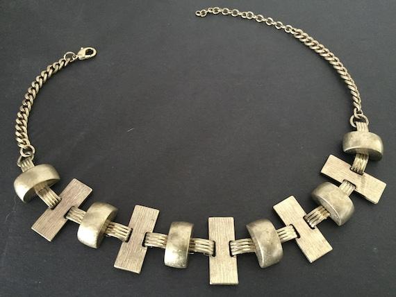 Brutalist Necklace, Bib Necklace, Gold Brutalist N