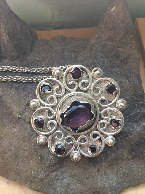 Amethyst Pendant, Vintage Amethyst and Sterling P… - image 6
