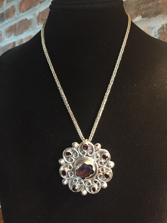 Amethyst Pendant, Vintage Amethyst and Sterling P… - image 5