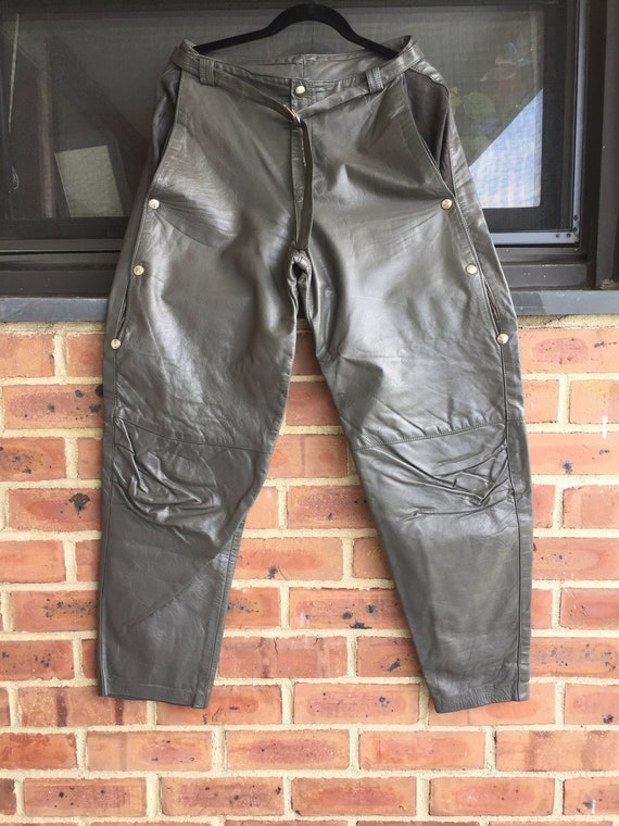 Leather Pants, Gray Leather Pants, Leather Jodhpur