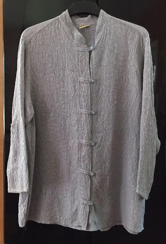 Plus Size Silk Tunic, Light Blue Silk Tunic, Butto