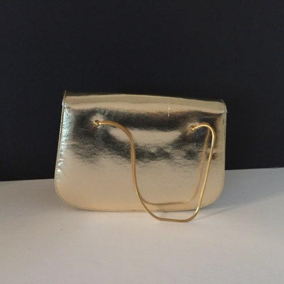 Gold Evening Bag, Top Handle Evening Bag - image 4