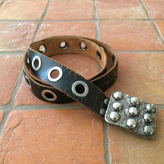 Black Leather Belts, Distressed Black Leather Belt