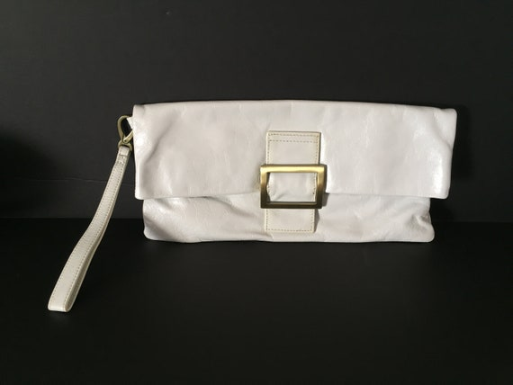 Clutch, Wristlet, White Leather Clutch, White Leat