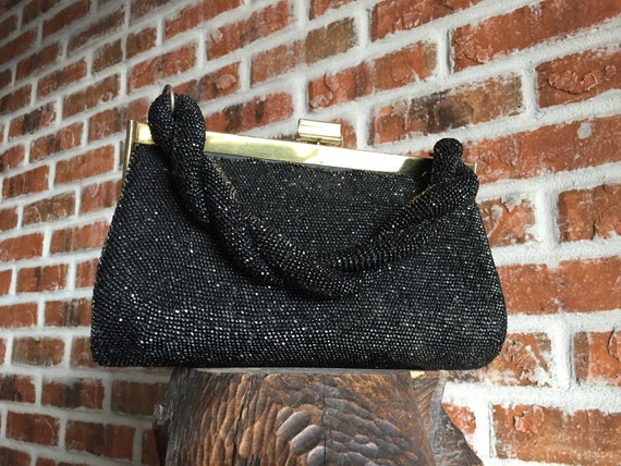 Evening Bag, Black Beaded Top Handle Evening Bag,