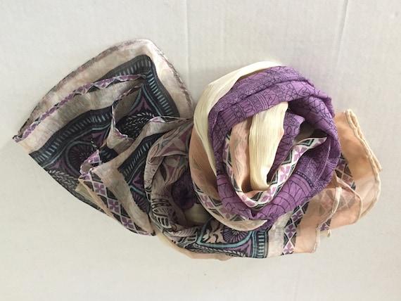 Silk Scarf, Extra Large Silk Scarf, Vintage Silk S