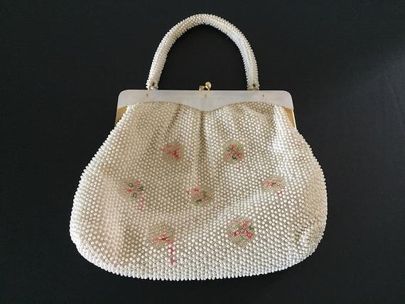 White Beaded Evening Bag, Top Handle Evening Bag,