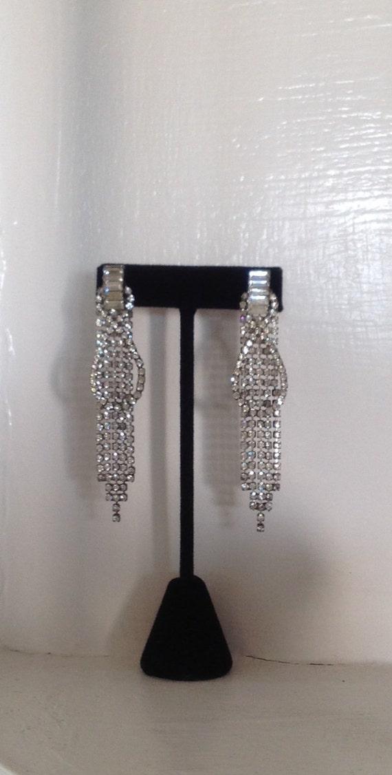 Rhinestone Dangling Earrings, Rhinestone Drop Ear… - image 5