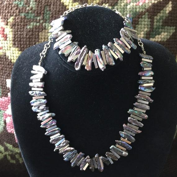 Pearl Jewelry Set, Pearl Necklace, Pearl Bracelet