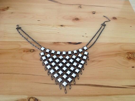 Bib Necklace, Victorian Necklace, White Bib Neckla