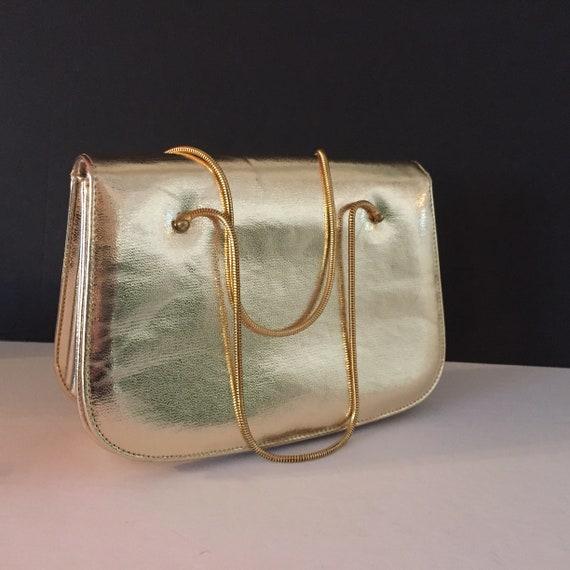 Gold Evening Bag, Top Handle Evening Bag - image 10