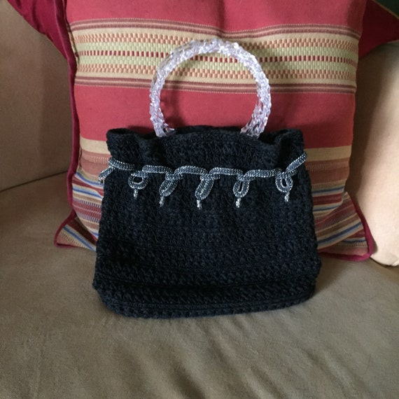 Evening Bag, Black Evening Bag, Black Crochet Top