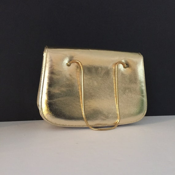 Gold Evening Bag, Top Handle Evening Bag - image 3