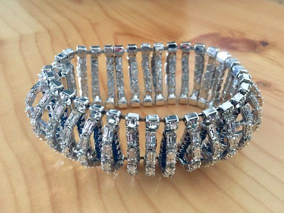 Rhinestone Bracelet, Bridal Rhinestone Bracelet, R
