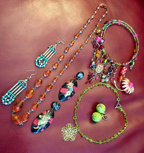 BoHo Necklaces, Colorful Necklaces, Drop Earrings,