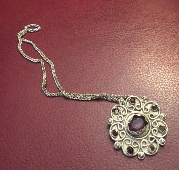 Amethyst Pendant, Vintage Amethyst and Sterling P… - image 3