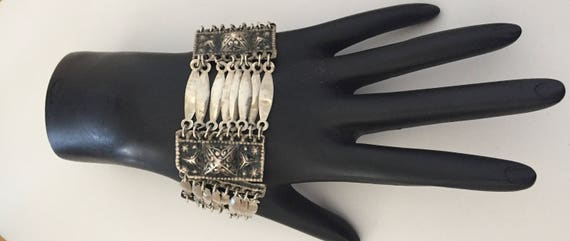 Ethnic Bracelet in Sterling Silver, Vintage Ethnic