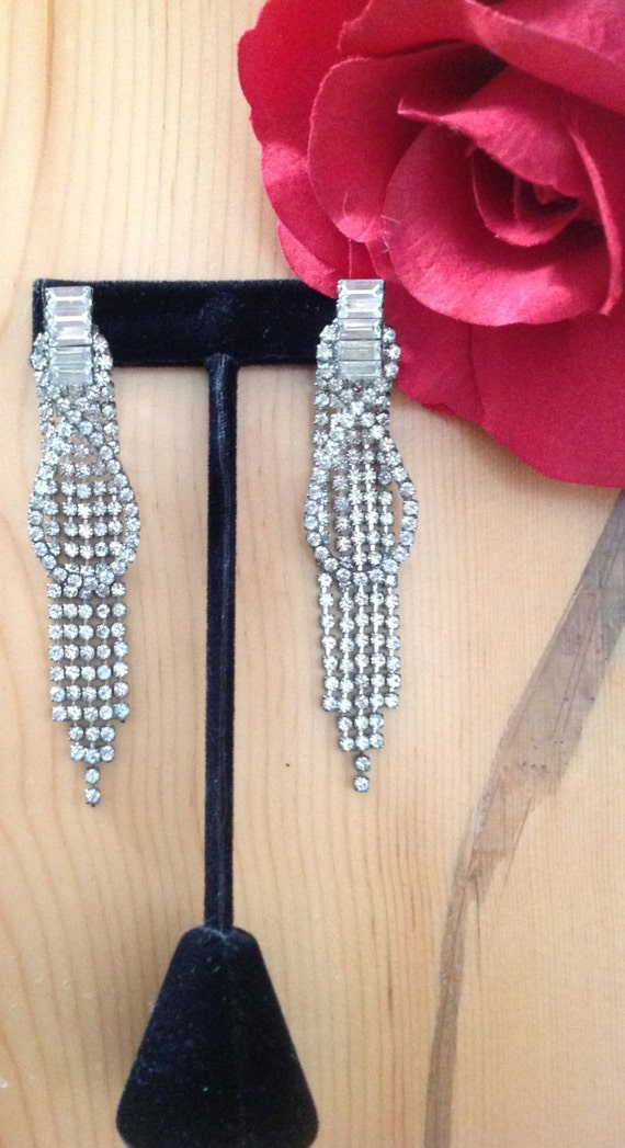 Rhinestone Dangling Earrings, Rhinestone Drop Ear… - image 1