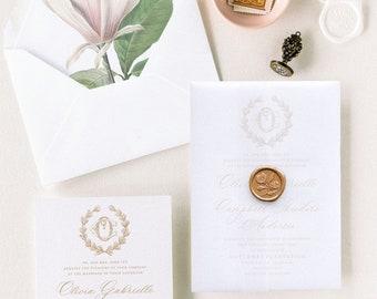 Vellum Wedding Invitations with Gold Wax Seal, Formal Wedding Invites