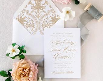Gold Wedding Invitation Set Elegant Calligraphy, Printed