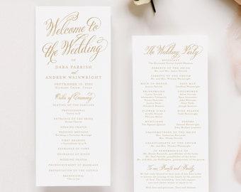 Gold Wedding Programs, Printed Wedding Ceremony Program in Matte Gold Ink