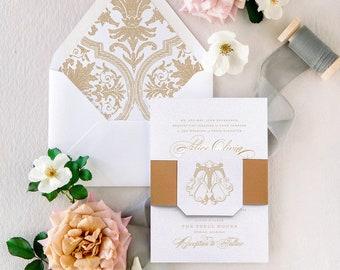 Gold Wedding Invitation, Monogram Wedding Invites