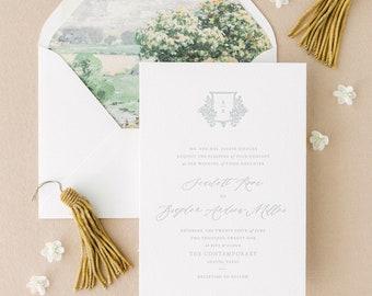 Classic Wedding Invitation, Letterpress Invite Suite in Gray