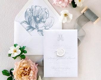 Dusty Blue Wedding Invitations, Vellum Invitation with Wax Seal
