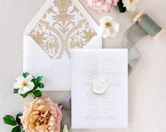 Classic Wedding Invitation Vellum with Gold Wax Seal