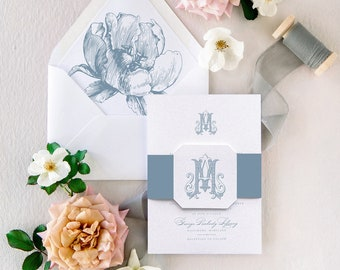 Dusty Blue Wedding Invitations Suite for Spring Summer with Floral Envelope Liners