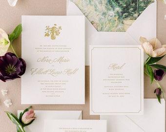Classic Letterpress Wedding Invitation Set with Elegant Envelope Liners, a luxury invite suite