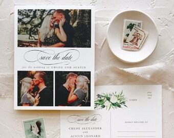 Greenery Save the Date Postcards for Elegant Barn Wedding