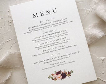 Wedding Table Menu, Blush Burgundy Wedding