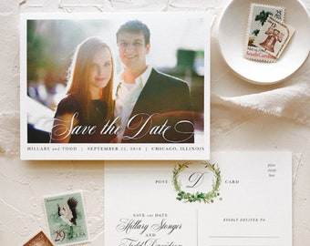 Rustic Save the Date Postcard with Photo, Laurel Greenery Wedding