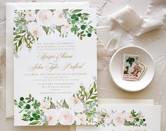 Dusty Blue Blush Invitation Suite, Summer Wedding Invitation